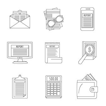 Conjunto de iconos de transacciones de informe de gastos