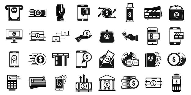 Conjunto de iconos de transferencia rápida de dinero