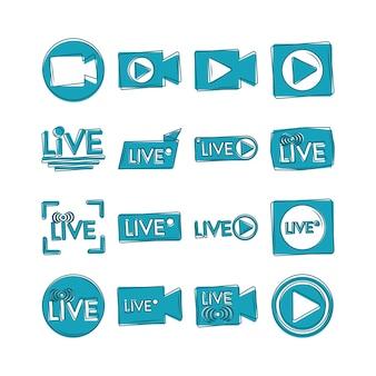 Conjunto de iconos de transmisión de transmisión en vivo