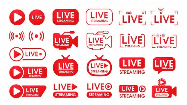 Conjunto de iconos de transmisión en vivo