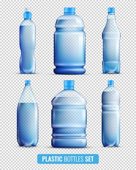 Conjunto de iconos transparentes de botellas de plástico