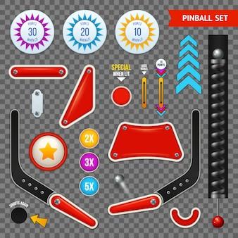 Conjunto de iconos transparentes de elementos de pinball aislado con diferentes conjunto de botones y herramientas ilustración vectorial