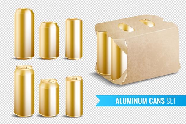 Conjunto de iconos transparentes de latas de aluminio