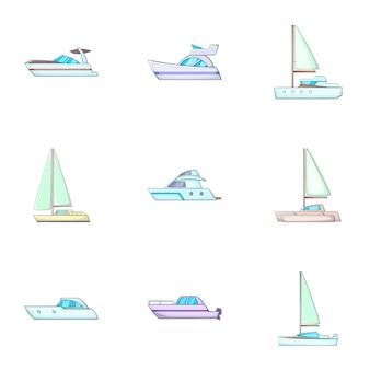 Conjunto de iconos de transporte de agua, estilo de dibujos animados