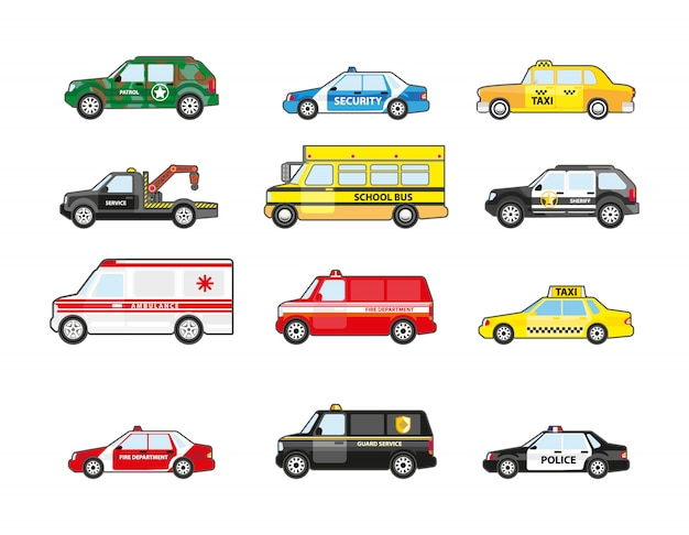 Conjunto de iconos de transporte de diferentes tipos.
