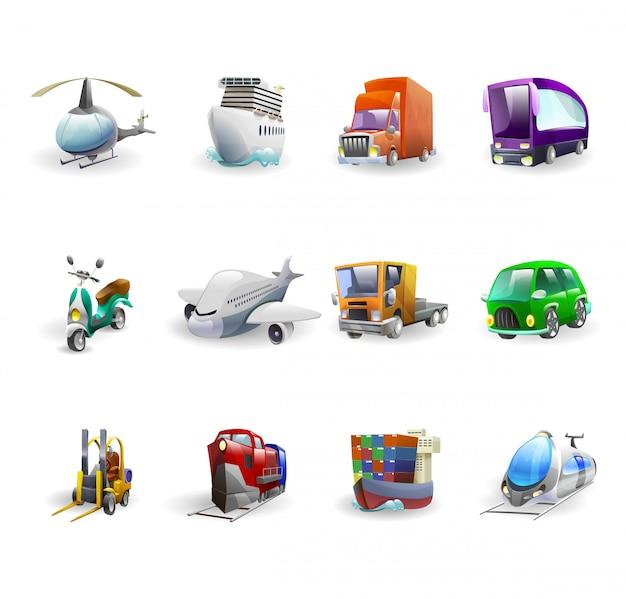 Conjunto de iconos de transporte y entrega