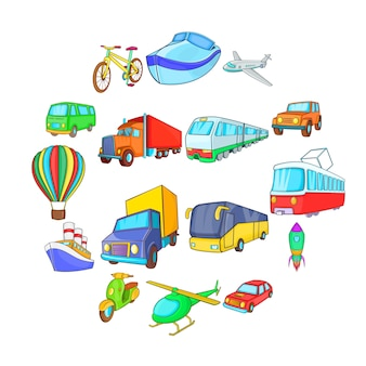 Conjunto de iconos de transporte, estilo de dibujos animados