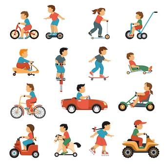 Conjunto de iconos de transporte de niños