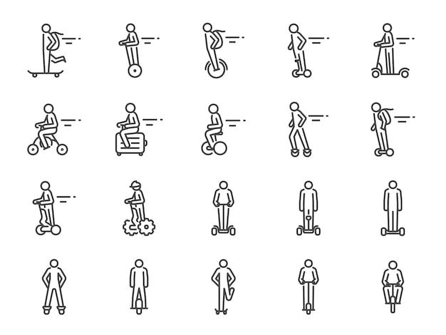 Conjunto de iconos de transporte personal.