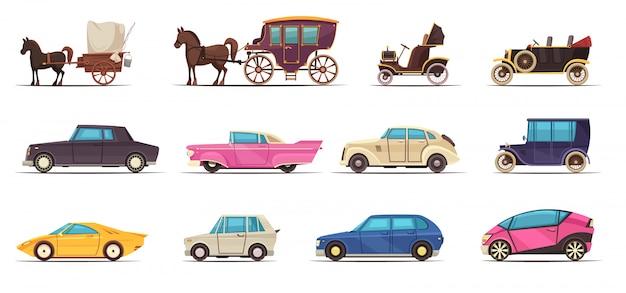 Conjunto de iconos de transporte terrestre antiguo y moderno que incluye varios automóviles y carruajes de caballos