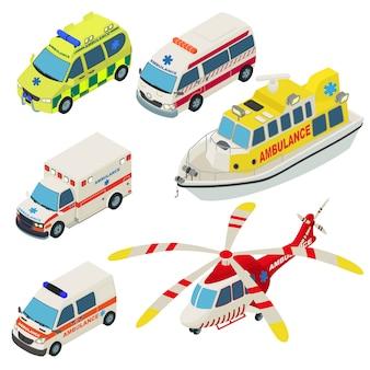 Conjunto de iconos de transporte urbano de ambulancia. ilustración isométrica de 6 iconos de vector de transporte urbano de ambulancia para web