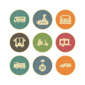 Conjunto de iconos de transporte para uso personal y comercial