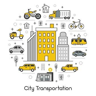 Conjunto de iconos con tranvía, autobús y taxi