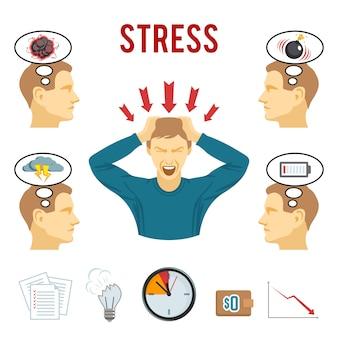 Conjunto de iconos de trastorno mental y estrés