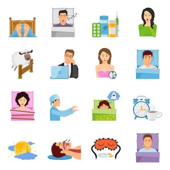 Conjunto de iconos de trastornos del sueño