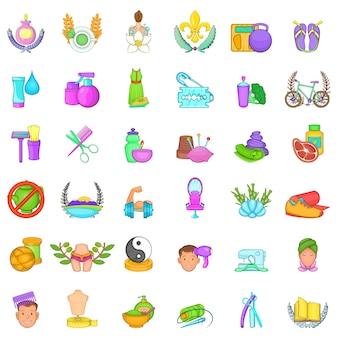 Conjunto de iconos de tratamiento de spa, estilo de dibujos animados