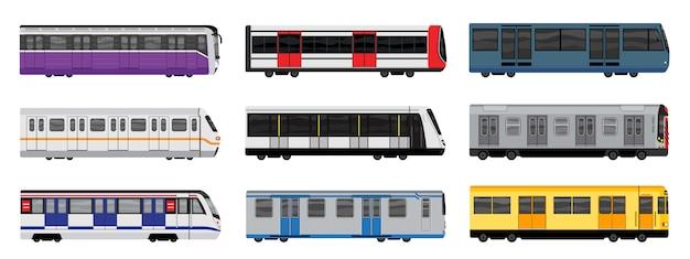 Conjunto de iconos de tren subterráneo, estilo de dibujos animados