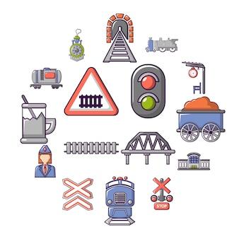 Conjunto de iconos de tren tren, estilo de dibujos animados
