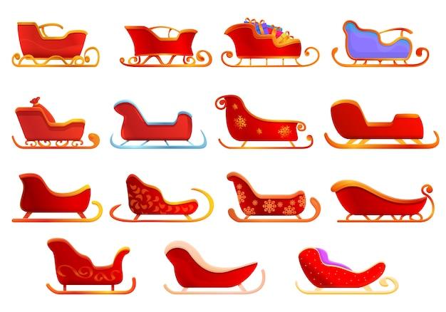 Conjunto de iconos de trineo, estilo de dibujos animados