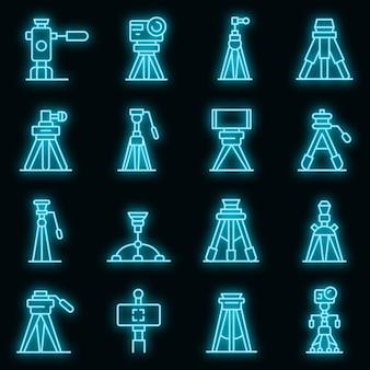 Conjunto de iconos de trípode. esquema conjunto de iconos de vector de trípode color neón en negro