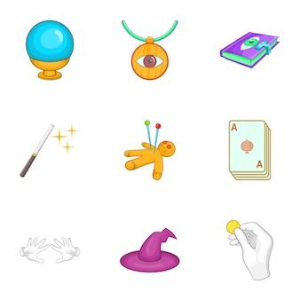 Conjunto de iconos de trucos, estilo de dibujos animados