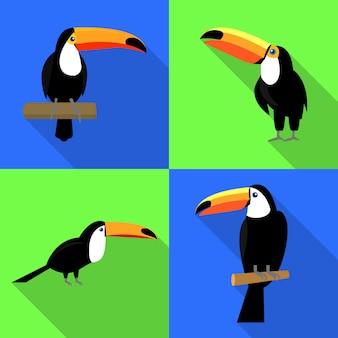 Conjunto de iconos de tucán, estilo plano