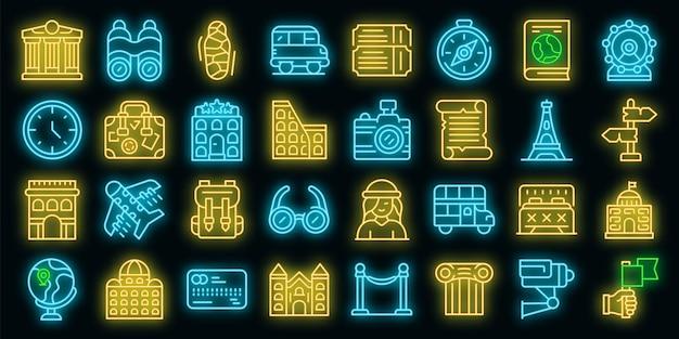 Conjunto de iconos de turismo. esquema conjunto de iconos de vector de turismo color neón en negro