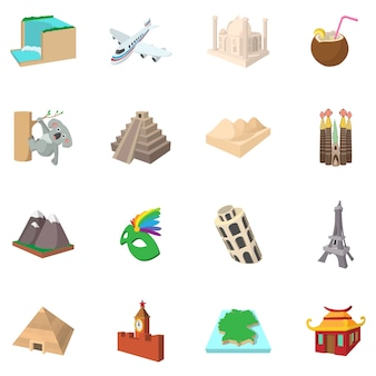 Conjunto de iconos de turismo en estilo de dibujos animados aislado
