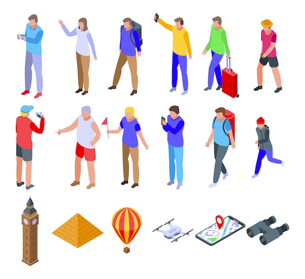 Conjunto de iconos de turismo, estilo isométrico