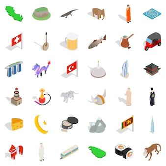 Conjunto de iconos de turismo mundial, estilo isométrico