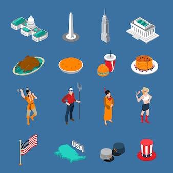 Conjunto de iconos turísticos de estados unidos