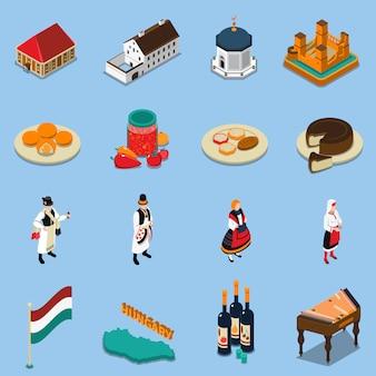 Conjunto de iconos turísticos isométrica de hungría