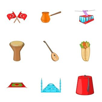 Conjunto de iconos de turquía, estilo de dibujos animados