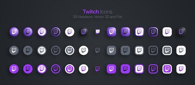 Conjunto de iconos de twitch moderno 3d y plano en diferentes variaciones