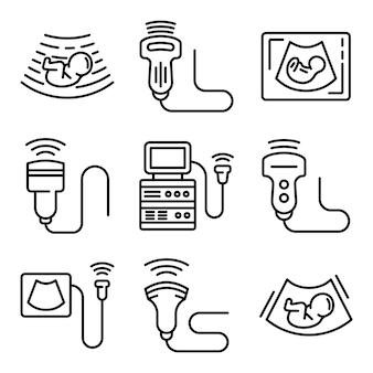 Conjunto de iconos de ultrasonido, estilo de contorno