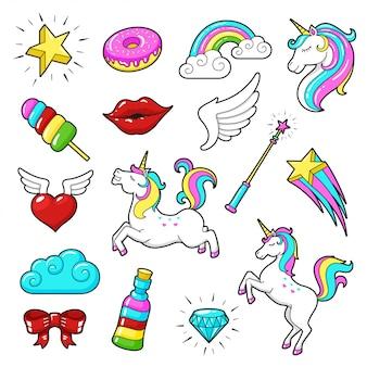 Conjunto de iconos de unicornios