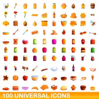 Conjunto de iconos universales, estilo de dibujos animados
