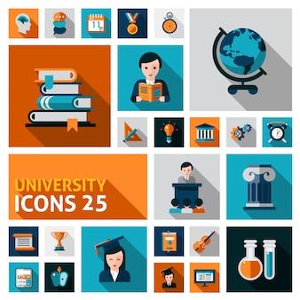 Conjunto de iconos de la universidad