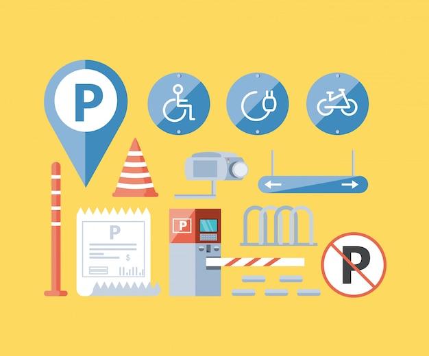 Conjunto de iconos urbanos de zona de estacionamiento