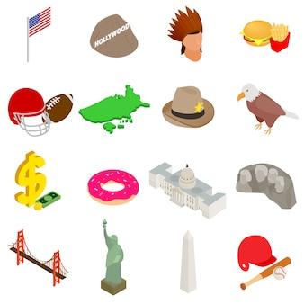 Conjunto de iconos de usa