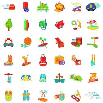 Conjunto de iconos de vacaciones cálidas, estilo de dibujos animados