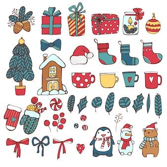 Conjunto de iconos de vacaciones de navidad