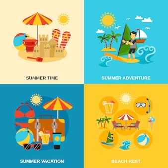 Conjunto de iconos de vacaciones de verano y aventuras