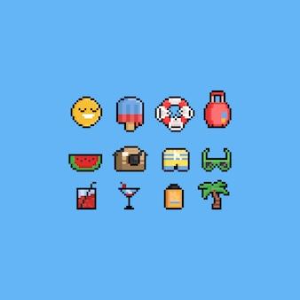 Conjunto de iconos de vacaciones de verano de dibujos animados de píxeles.