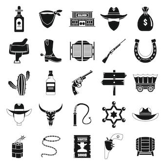 Conjunto de iconos de vaquero occidental, estilo simple