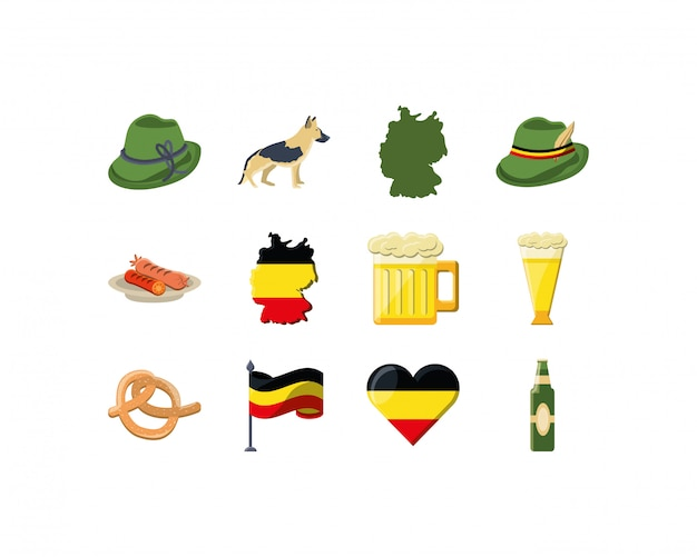 Conjunto de iconos de variedad de alemania