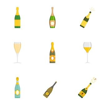 Conjunto de iconos de vaso, estilo de dibujos animados