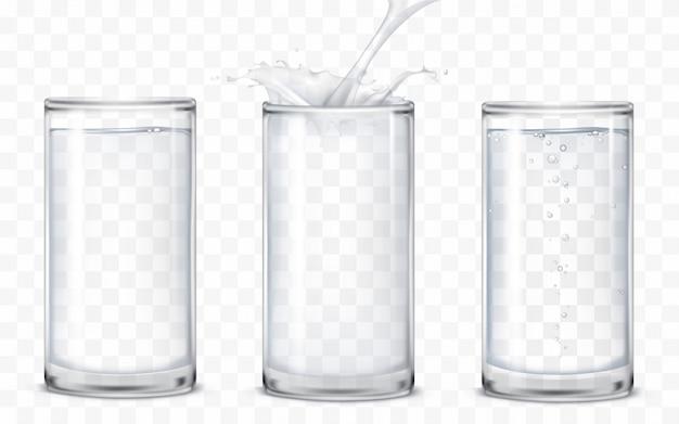 Conjunto de iconos vasos con una bebida