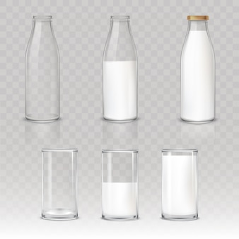 Conjunto de iconos vasos y botellas con una leche