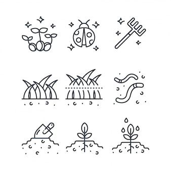 Conjunto de iconos de vector de agricultura orgánica